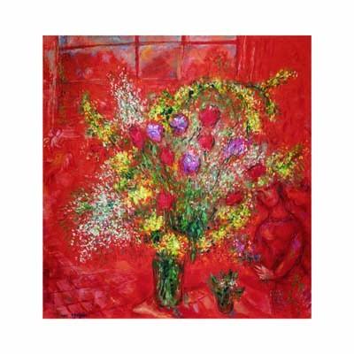 Fleurs sur fond rouge, 1970