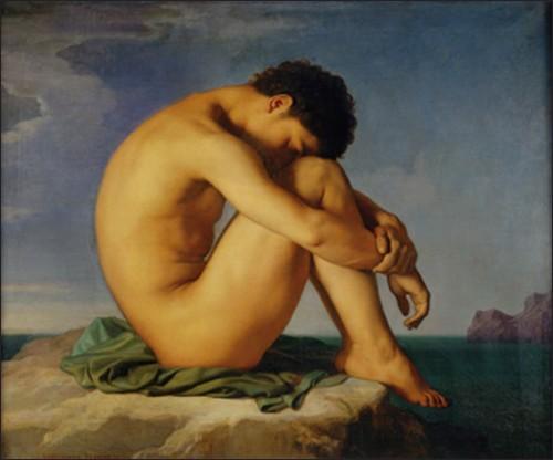 Jeune homme nu assis, 1855