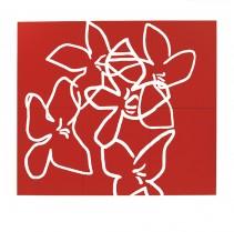 Fleurs blanches sur fond rouge, 2003