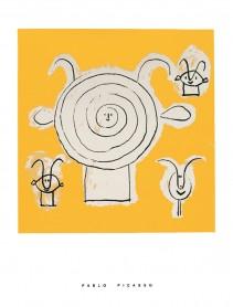Tête de faune en grisaille avec trois figures, 1946